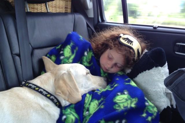 Dog sleeping on sleeping girl
